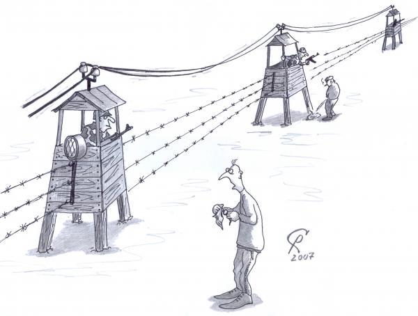 Карикатура: Высоковольтные вышки, Серебряков Роман