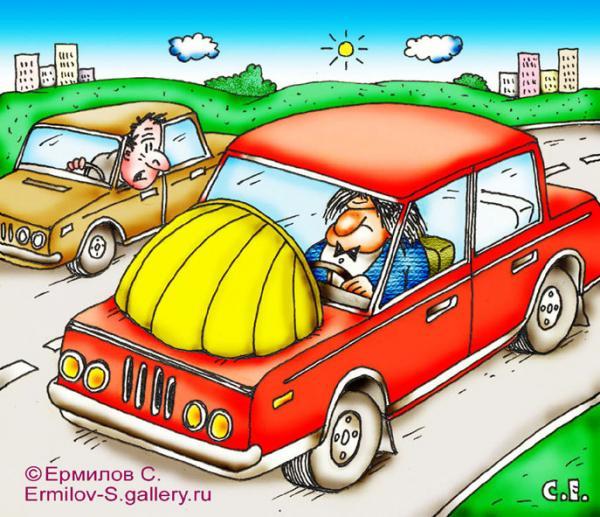 Карикатура: Артист за рулём, Сергей Ермилов