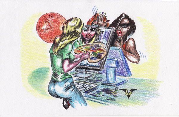 Карикатура: Утренние зеркальные обои, Владимир Уваров