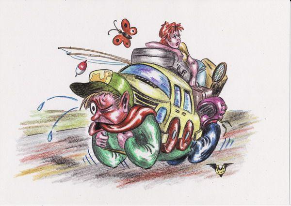 Карикатура: Отпускной внедорожник, Владимир Уваров