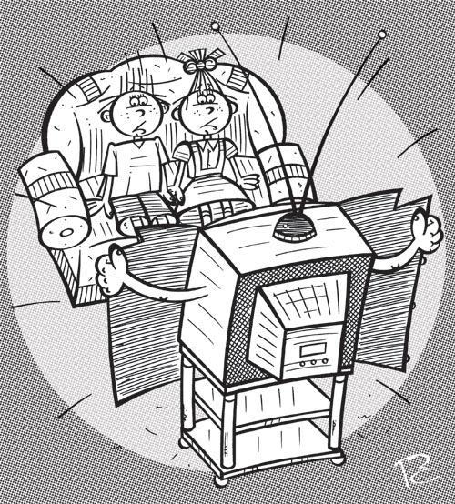 Карикатура: Осторожно, TV!, Сергей Репьёв