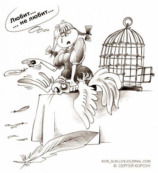 Карикатура: Любит, не любит, Сергей Корсун