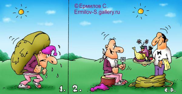 Карикатура: Официант в рюкзаке, Сергей Ермилов