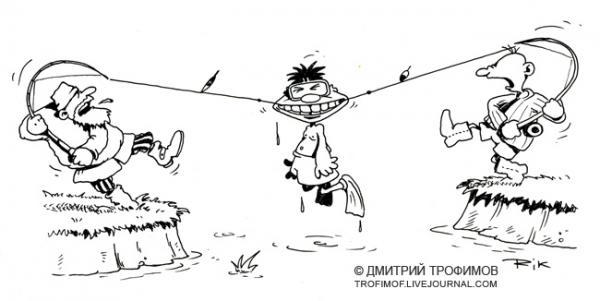 Карикатура: Случай на рыбалке, Трофимов Дмитрий