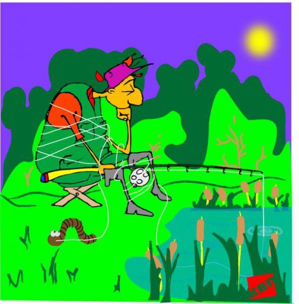 Карикатура: Рыбак, kvp