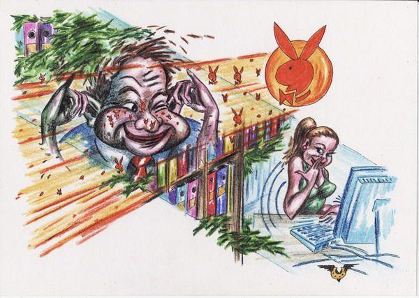 Карикатура: Офис-леший и веснушки, Владимир Уваров