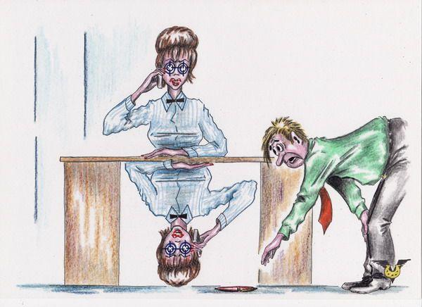 Карикатура: Деловая дама, Владимир Уваров