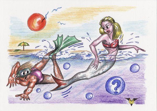 Карикатура: Ужасная рыбина, Владимир Уваров