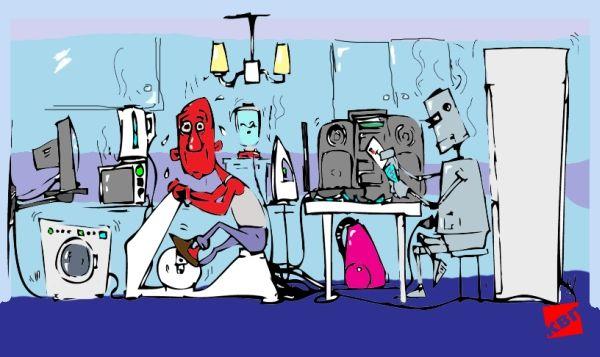 Карикатура: Интеллект и работа несовместимы ... !!!, kvp
