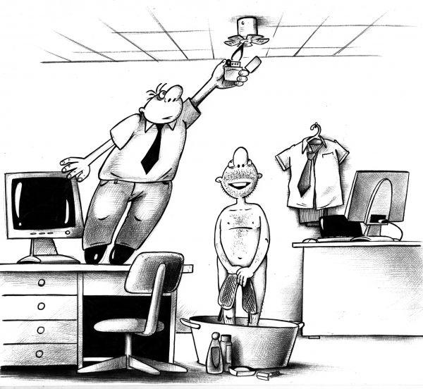 Карикатура: Пожарная сигнализация, Сергей Корсун