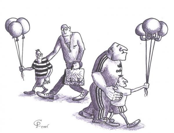 Карикатура: Воздушные шарики, Серебряков Роман