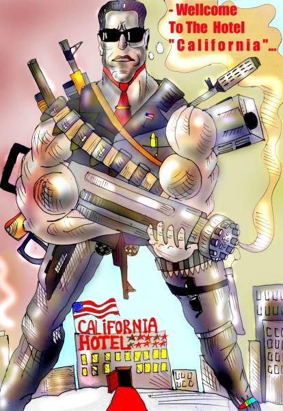 Карикатура: отель калифорния, Марат Самсонов